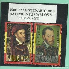 Sellos: 2000. 2 SELLOS 5º CENTENARIO DEL NACIMIENTO CARLOS V. Lote 173990082