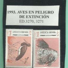 Sellos: 1993. 2 SELLOS AVES EN PELIGRO DE EXTINCIÓN . Lote 173991819