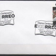 Francobolli: SOBRE CON MATASELLO ESPECIAL DEL PRIMER DIA DEL CENTENARIO DEL PERIODICO EL CORREO DE BILBAO DEL AÑO. Lote 174576132