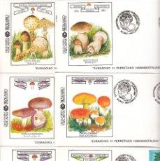 Sellos: 12 SOBRES: 1984 BILBAO. EUSKADIKO III PERRETXIKO HAMABOSTALDIA - SOCIEDAD MICOLOGICA BASAURI / CAV. Lote 175011205