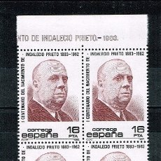 Sellos: ESPAÑA 1983 - EDIFIL 2731** - CENTENARIO DEL NACIMIENTO DE INDALECIO PRIETO - BLOQUE DE 4. Lote 175066913