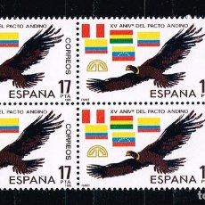 Sellos: ESPAÑA 1985 - EDIFIL 2778** - XV ANIVERSARIO DE PACTO ANDINO - SERIE COMPLETA EN BLOQUE DE 4 SELLOS . Lote 175555135