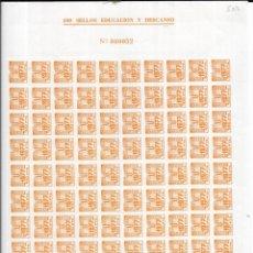 Sellos: == G23 - PLIEGO DE 100 SELLOS DE 100 PTS. EDUCACION Y DESCANSO 1977. Lote 176302474
