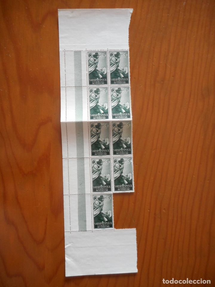 Sellos: Cuatro bloques de 9 sellos. Sahara Español. Pro Infancia. Quevedo. 1960. Edifil 172 a 175. Ver fotos - Foto 4 - 177064324