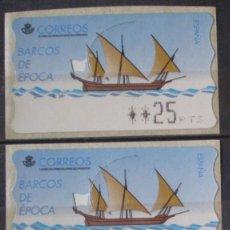Sellos: ETIQUETAS - ATM Nº 13 - BARCOS DE EPOCA - 4 DIGITOS - NUEVAS ** SERIE 3 VALORES. Lote 177332115
