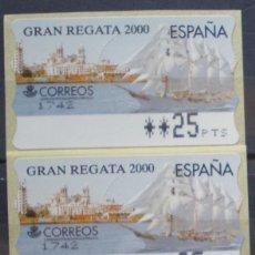 Sellos: ETIQUETAS - ATM Nº 33 - GRAN REGATA 2000 - 4 DIGITOS - NUEVAS ** SERIE 3 VALORES EN PTS. Lote 177332119