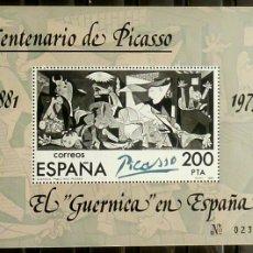 Sellos: SELLOS ESPAÑA 1981 - FOTO 503 - Nº 2631, BLOQUE GUERNICA. Lote 177464659
