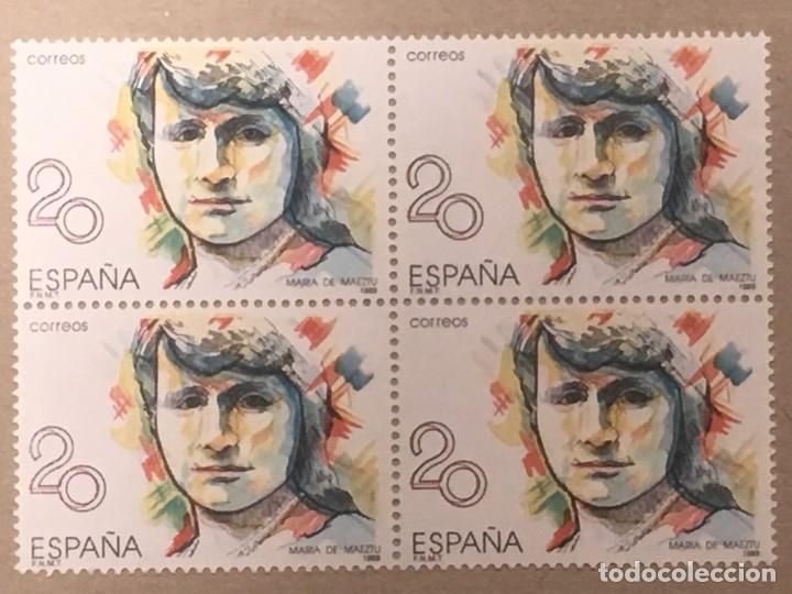 EDIFIL 2989 BLOQUE DE CUATRO 20 PTS Mª DE MAEZTU VARIEDAD COLOR ROJO Y AZUL DESPLAZADO A IZQUIERDA (Sellos - España - Juan Carlos I - Desde 1.986 a 1.999 - Nuevos)