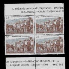 Sellos: JUAN CXARLOS I - BIENES CULTURALES Y NATURALES - EDIFIL 3558-59 - 1998 - BLOQUE DE CUATRO. Lote 177748294
