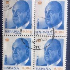 Sellos: ESPAÑA AÑO 2007, 13 ENERO. S.M. DON JUAN CARLOS I 30CTM€, BLOQUE DE 4 USADO. Lote 177944057