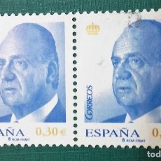 Sellos: ESPAÑA AÑO 2007,S.M. DON JUAN CARLOS I 30CTM€, BLOQUE DE 2 USADO. Lote 177944352