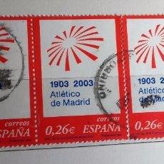 Sellos: ESPAÑA 2003, BLOQUE DE 3 SELLOS USADOS, ATLÉTICO DE MADRID. ESPAÑA. 0,26 €. 1903 - 2003. Lote 177944729