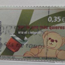 Sellos: ESPAÑA 20011, SELLO USADO VALORES CÍVICOS USO CINTURON. Lote 177945089