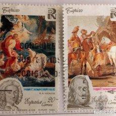 Sellos: ESPAÑA 1990, 2 SELLOS USADOS, PATRIMONIO ARTÍSTICO NACIONAL. TAPICES. Lote 177970773