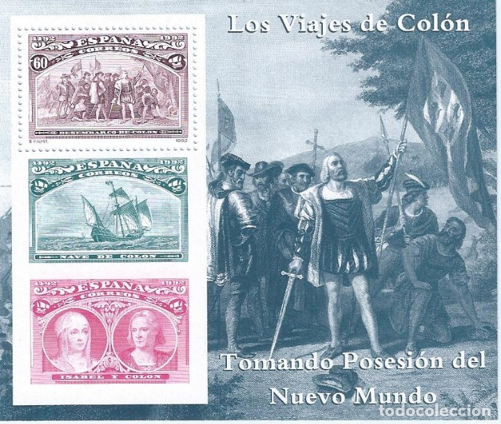 EDIFIL 3207 COLÓN Y EL DESCUBRIMIENTO 1992 (HOJITA). MNH** (Sellos - España - Juan Carlos I - Desde 1.986 a 1.999 - Nuevos)