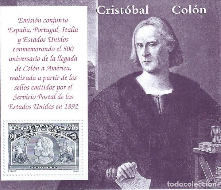 EDIFIL 3204 COLÓN Y EL DESCUBRIMIENTO 1992 (HOJITA). MNH** (Sellos - España - Juan Carlos I - Desde 1.986 a 1.999 - Nuevos)