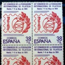 Sellos: SELLOS ESPAÑA 1984- FOTO 747- Nº 2755,BL 4 SELLOS,NUEVO. Lote 178682866