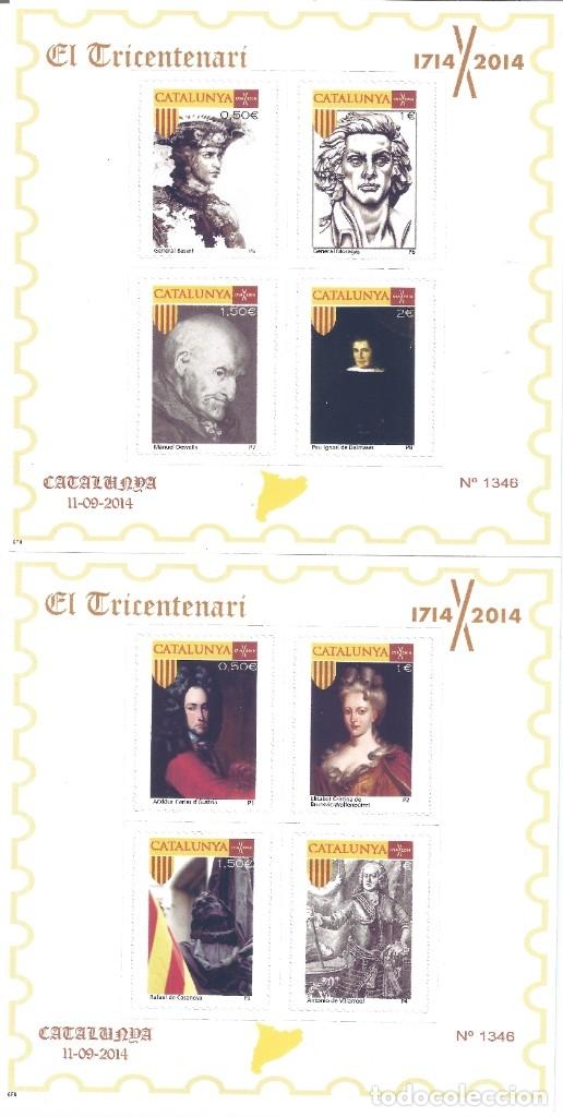 EL TRICENTENARI 1714-2014. DOS HOJITAS. 8 SELLOS CON PERSONAJES HISTÓRICOS DE CATALUNYA. MNH ** (Sellos - España - Juan Carlos I - Desde 2.000 - Nuevos)