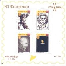 Sellos: EL TRICENTENARI 1714-2014. DOS HOJITAS. 8 SELLOS CON PERSONAJES HISTÓRICOS DE CATALUNYA. MNH **. Lote 195244150