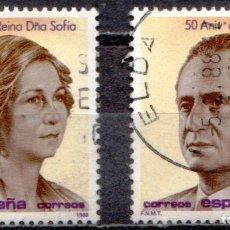Sellos: ESPAÑA - DOS SELLOS - EDIFIL:#2927-28 - 50 ANIV.NATALICIO SS.MM. REYES DE ESPAÑA - AÑO 1983 - USADOS. Lote 179022477