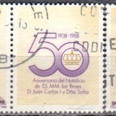 Sellos: ESPAÑA - TRES SELLOS - EDIFIL:#2927-28 - 50 ANIV.NATALICIO SS.MM. REYES DE ESPAÑA - AÑO 1983 -USADOS. Lote 179022560