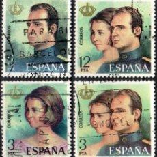 Sellos: ESPAÑA - 1 SERIE (4 VALORES) - EDIFIL:#2302-05 - DON JUAN CARLOS Y DÑA. SOFIA - AÑO 1975 -USADOS. Lote 179064806