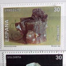 Sellos: ESPAÑA 1995, DOS SELLOS USADOS SERIE MIERALES. Lote 179214247