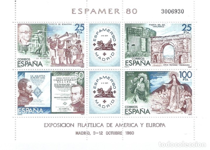 EDIFIL 2583 ESPAMER 80. HOJITA BLOQUE. MNH ** (Sellos - España - Juan Carlos I - Desde 1.975 a 1.985 - Nuevos)