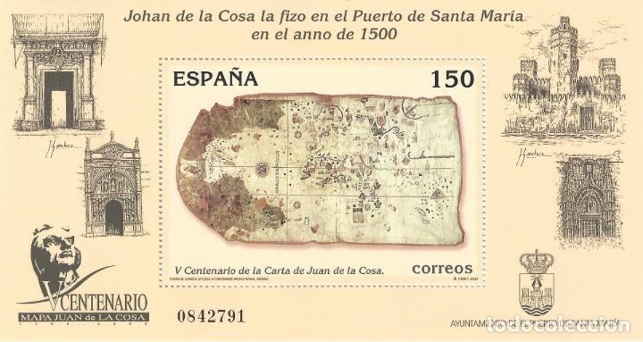 EDIFIL 3722 V CENTENARIO DE LA CARTA DE SAN JUAN DE LA COSA 2000. MNH ** (Sellos - España - Juan Carlos I - Desde 2.000 - Nuevos)