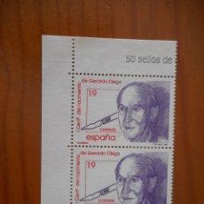 Sellos: LOTE 2 SELLOS 1º ANIVERSARIO DEL NACIMIENTO DE GERARDO DIEGO. 1996. NUEVOS, SIN CHARNELA. Lote 180191336