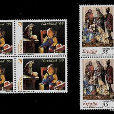 Sellos: JUAN CARLOS I - EDIFIL 3685-86 - 1999 - NAVIDAD 1999 - BLOQUE DE CUATRO. Lote 180266611