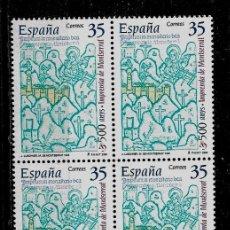 Francobolli: JUAN CARLOS I - EDIFIL 3696 - 2000 - 500 AÑOS DE LA IMPRENTA DE MONTSERRAT - BLOQUE DE CUATRO. Lote 180267563