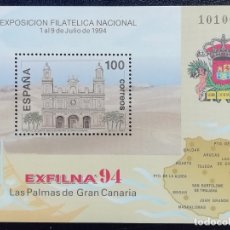 Sellos: 1994. RELIGIÓN. ESPAÑA. 3313. EXFILNA '94. CATEDRAL DE LAS PALMAS, GRAN CANARIA. SELLO EN HB. NUEVO. Lote 180457032