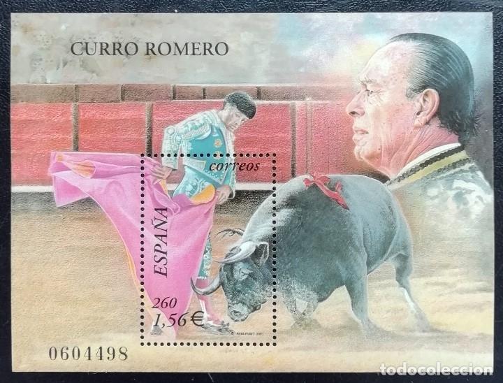2001. ESPAÑA. 3834. TOROS. TOREO DE CAPA: LA VERÓNICA. CURRO ROMERO. SELLO EN HB. NUEVO. (Sellos - España - Juan Carlos I - Desde 2.000 - Nuevos)