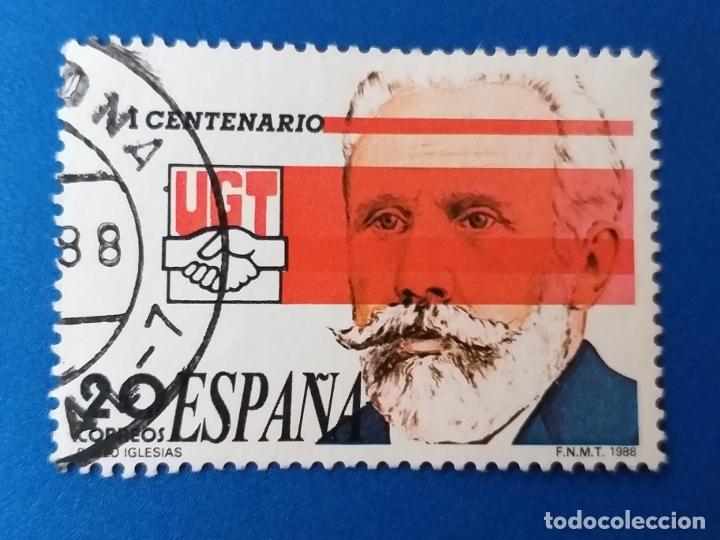 USADO. AÑO 1988. EDIFIL 2948. I CENTENARIO DE LA UNIÓN GENERAL DE TRABAJADORES. PABLO IGLESIAS. (Sellos - España - Juan Carlos I - Desde 1.986 a 1.999 - Usados)
