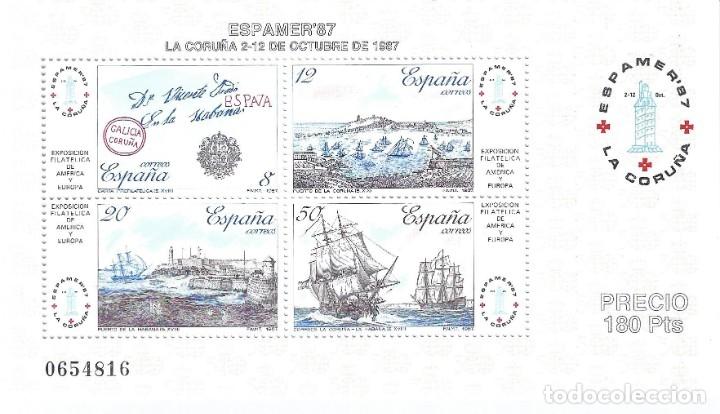 EDIFIL 2916 EXPOSICIÓN FILATÉLICA DE ESPAÑA Y AMÉRICA. ESPAMER'87. MNH ** (Sellos - España - Juan Carlos I - Desde 1.986 a 1.999 - Nuevos)