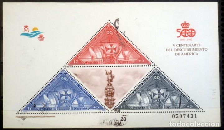SELLOS ESPAÑA 1992- FOTO 943, BL. USADO (Sellos - España - Juan Carlos I - Desde 1.986 a 1.999 - Usados)