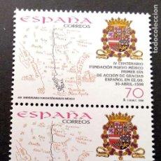 Francobolli: ESPAÑA. 3599 NUEVO MÉXICO: MAPA CON EL CAMINO REAL Y ESCUDO DE FELIPE II, EN PAREJA. 1998. SELLOS NU. Lote 182009528