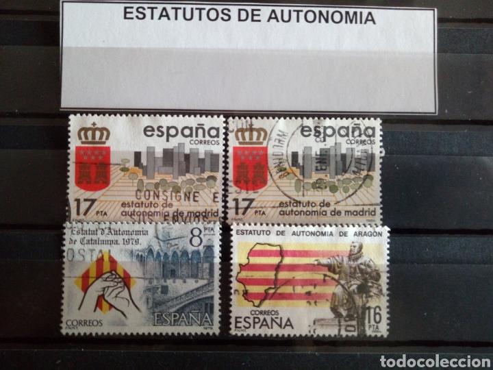 4 SELLOS ESTATUTOS DE AUTONOMÍA. ESPAÑA. ENVÍO GRATIS (Sellos - España - Juan Carlos I - Desde 1.986 a 1.999 - Usados)
