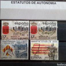 Sellos: 4 SELLOS ESTATUTOS DE AUTONOMÍA. ESPAÑA. ENVÍO GRATIS. Lote 182258525