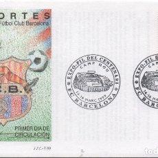 Sellos: SOBRE ILUSTRADO PRIMER DÍA. CENTENARIO FC BARCELONA. Lote 182913903