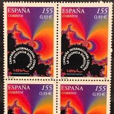 Sellos: SELLOS ESPAÑA EDIFIL 3779 AÑO 2001 EN BLOQUE DE 4 MNH** CAMPAÑA INTERNACIONAL CONTRA VIOLENCIA DOMES. Lote 182970346