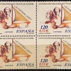 Sellos: SELLOS ESPAÑA EDIFIL 3781 AÑO 2001 EN BLOQUE DE 4 MNH** EXP NACIONAL DE FILATELIA JUVENIL . Lote 182970647