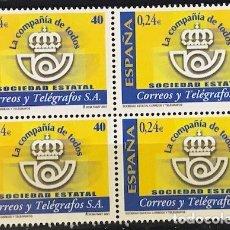 Sellos: SELLOS ESPAÑA EDIFIL 3815 AÑO 2001 EN BLOQUE DE 4 MNH** SOCIEDAD ESTATAL CORREOS Y TELEGRAFOS. Lote 182971733