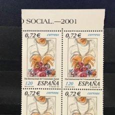 Sellos: SELLOS ESPAÑA EDIFIL 3843 AÑO 2001 EN BLOQUE DE 4 MNH** DIA INTERNACIONAL DEL VOLUNTARIADO SOCIAL. Lote 182972582