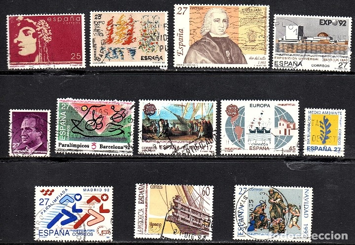 VARIAS SERIES COMPLETAS USADAS DE ESPAÑA AÑO 1.992 (Sellos - España - Juan Carlos I - Desde 1.986 a 1.999 - Usados)