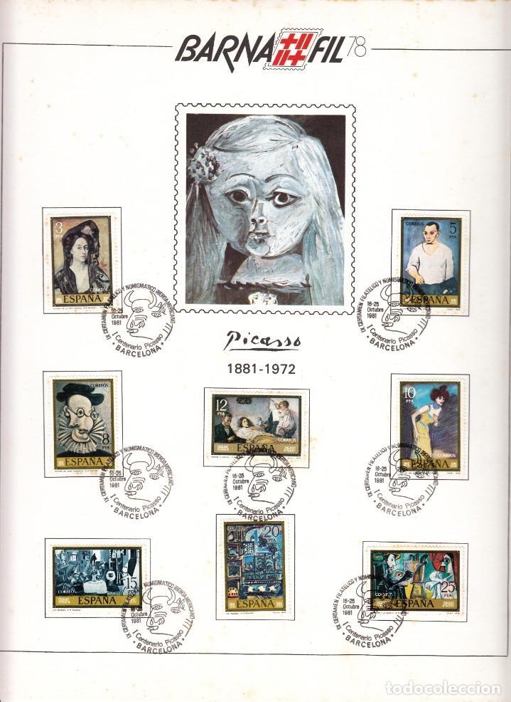 HOJA:BARNAFIL-78 / PICASSO 1881-1972 - MATASELLO I CENTENARIO PICASSO (Sellos - España - Juan Carlos I - Desde 1.975 a 1.985 - Usados)