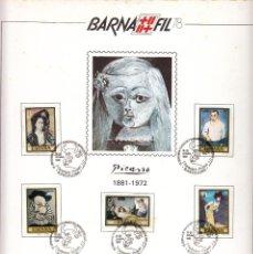 Sellos: HOJA:BARNAFIL-78 / PICASSO 1881-1972 - MATASELLO I CENTENARIO PICASSO. Lote 183386317