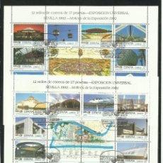 Sellos: HOJAS DE LA EXPOSICION DE SEVILLA USADAS. Lote 183395468