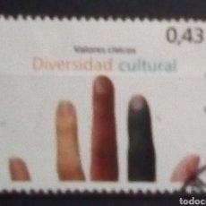 Sellos: ESPAÑA VALORES CÍVICOS DIVERSIDAD CULTURAL SELLO USADO DE 0,43. Lote 184002811